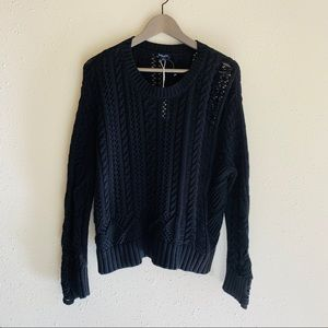 Splendid Distressed Cable Knit Sweater/Sz:XS/NWT